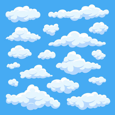 Fluffy white cartoon clouds in blue sky vector set. Cloudy day heaven. Cartoon cloudy fluffy illustration Vetores