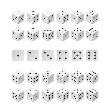 Isometric 3d dice combination. Vector game cubes isolated. Collection for gambling app and casino concept. Dice game, gambling cube for casino illustration