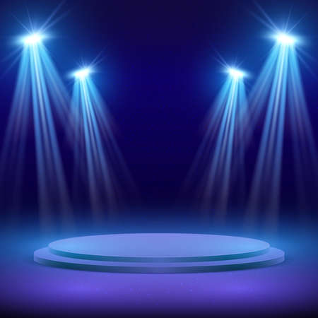 Concert stage with spot light lighting. Show performance vector background. Stage with spotlight for show illuminated illustration