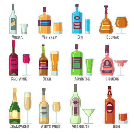 Alcoholic drinks in bottles and glasses flat vector icons set. Alcohol drink beverage illustration Vettoriali