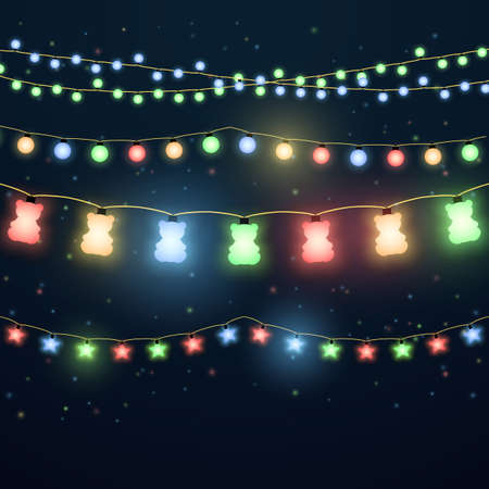 Set of colorful light garlands for xmas holiday, color light bulb christmas to party decoration. Vector illustration