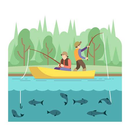 Outdoor summer activities. Fishing sport vector concept. Summer vacation fishing, illustration outdoor river boat Vektorové ilustrace