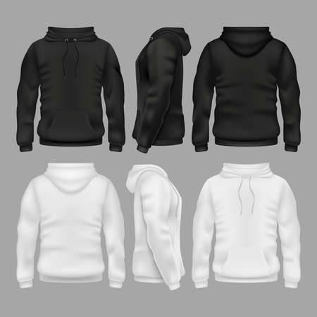 Black and white blank sweatshirt hoodie vector templates. Illustration of sweatshirt with hoodie