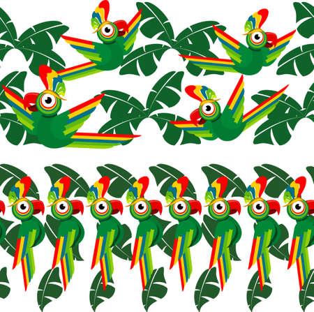 Tropical seamless borders design with palm leaves and parrots. Vector illustration