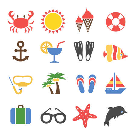 Summer vacation colorful icons set. Tourism and travel, cocktail and palm, vector illustration Vetores