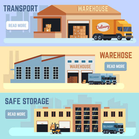 Warehouse, shipping transportation and delivering service vector horizontal banner set. Warehouse service distribution illustration. Logistic and storage industry.