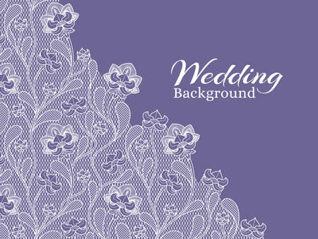 Wedding floral vector background with lace pattern. Wedding lace ornament textile illustration Vecteurs