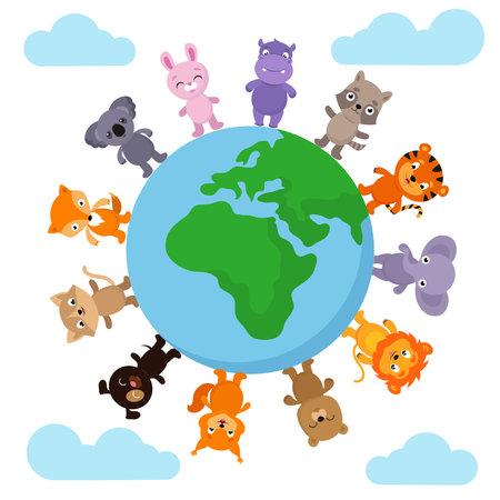 Cute and funny baby animals walking around Earth globe vector illustration. Cartoon anumals globe around, elephant and lion, dog and raccoon Ilustração Vetorial