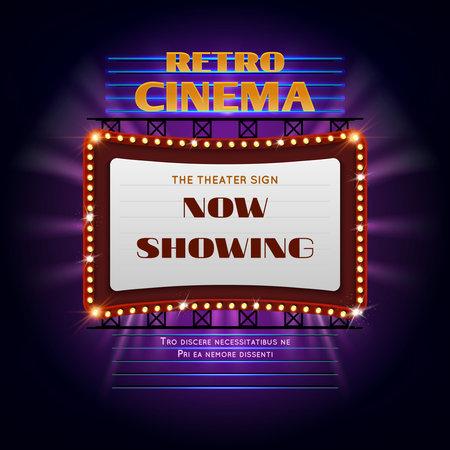 Retro hollywood cinema 3d glowing light sign. Movie light display billboard vector illustration. Retro cinema billboard event
