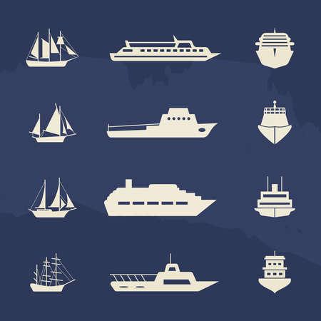 Sailboat and ship icons collection on grunge backdrop. Vector illustration Ilustração Vetorial