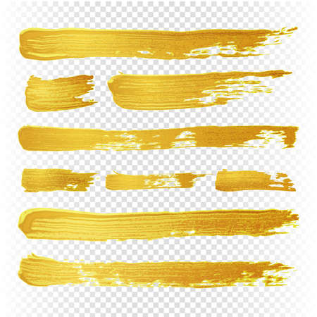 Gold yellow paint vector textured abstract brushes. Golden hand drawn brush strokes. Illustration of brush golden paint watercolor Vector Illustration