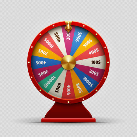 Colorful realistic casino fortune wheel on transparent background. Fortune wheel casino, money and lucky. Vector illustration