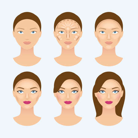 Stages of the makeup on the womans face. Beauty makeup girl portrait, vector illustration Vector Illustratie
