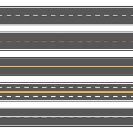 Horizontal straight seamless roads. Modern asphalt repetitive highways. Road asphalt straight seamless, highway street for transportation illustration