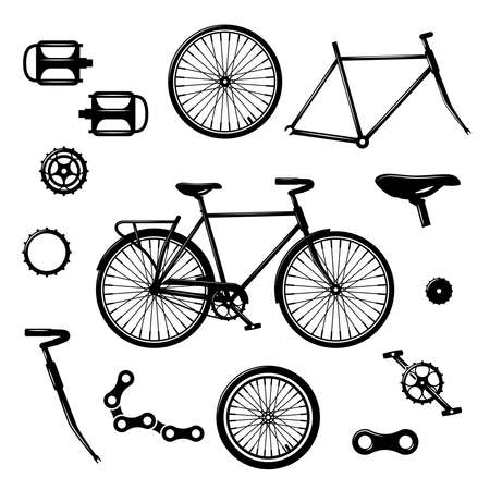 Bike parts. Bicycle equipment and components isolated vector set. Bicycle chain and pedal illustration
