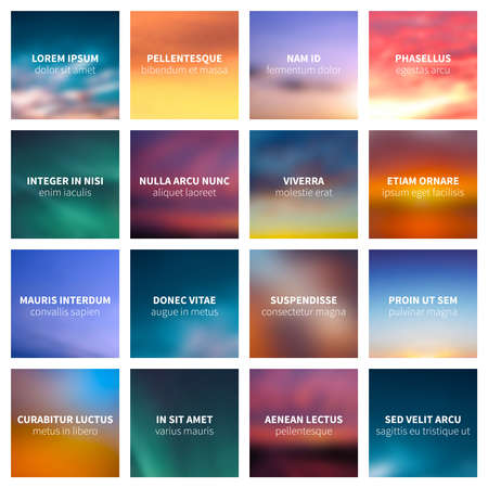 Blurred nature vector abstract backgrounds. Blur colored cards background illustration