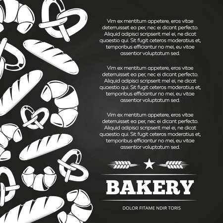 Blackboard poster with bread and croissant - bakery chalkboard background design. Banner bread vector illustration