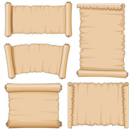 Blank cartoon old scrolls of papyrus paper vector set. Blank papyrus sheet, illustration of ancient parchment Vektorgrafik