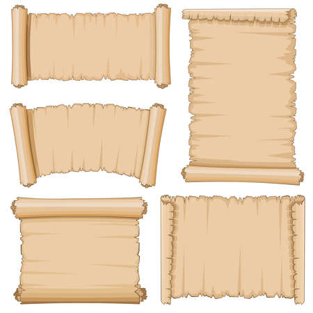 Blank cartoon old scrolls of papyrus paper vector set. Blank papyrus sheet, illustration of ancient parchment Vector Illustration