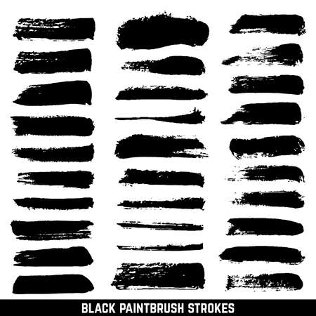 Vector artistic ink paint blob brushes. Inked brushed strokes isolated. Dirty black brushstrokes collection. Illustration paintbrush drawing ink stroke