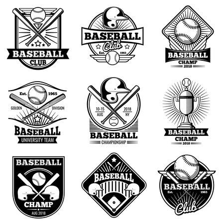 Vintage baseball vector labels and emblems. Baseball label design for school league illustration Vetores