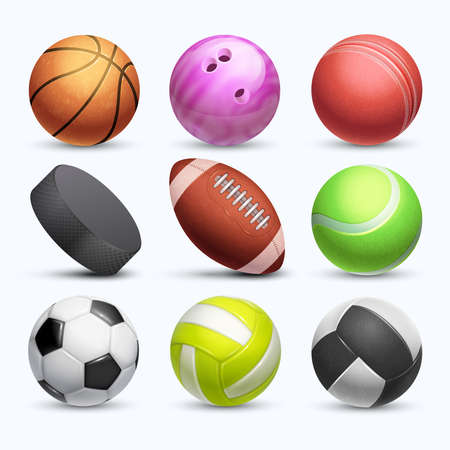 Different 3d sports balls vector collection isolated on white background. Ball for game football and basketball, soccer and tennis illustration