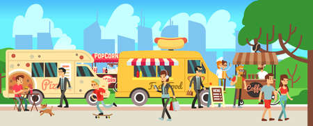 Street food market. People walking city park, cartoon fast food trucks and tents. Man woman eating, skateboarding shopping drink coffee. Outdoor entertainment vector illustration