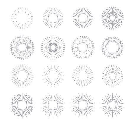 Line vintage sunburst. Circle solar burst, radiant frames design. Graphic rays flare, blasting stars or sparks. Isolated hipster sun utter vector set