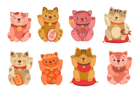 Japanese cats. Lucky japan cat, isolated asian pet. Flat culture maneki neko animal, kawaii money rich or fortune funny exact vector symbols