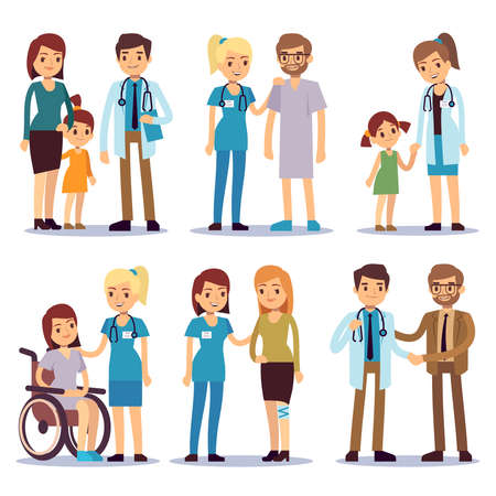 Medical staff with patients. Nurses and doctors with sick person vector cartoon characters set. Illustration of medical doctor and patient cartoon, nurse and people
