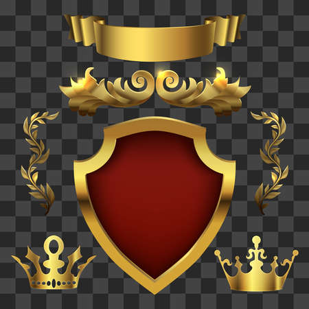 Golden heraldic elements. Kings crowns, banners isolated on transparent background. Vector illustration