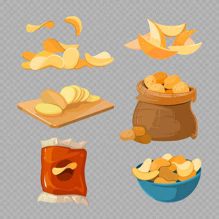 Salty fried potato chips snacks isolated on transparent background. Food vector illustration