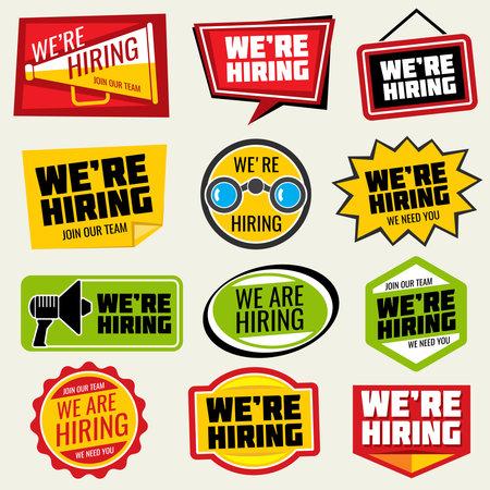 Now hiring vector signs. Employment opportunity stickers. We hiring sticker, job and employment recruitment illustration Vecteurs