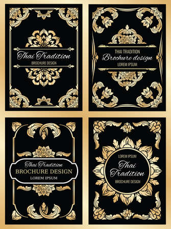 Thailand art vector background with floral thai frame borders and dividers. Thailand tradition poster and brochure illustration