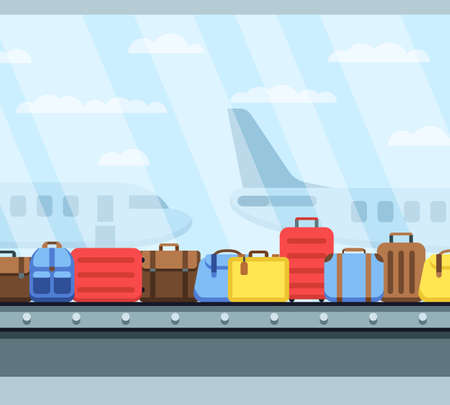 Airport conveyor belt with passenger luggage bags vector illustration. Airport baggage belt, luggage for travel, terminal conveyor