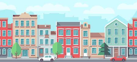 Vector cityscape with old apartment houses. Vector seamless town street. City europe facade building illustration Ilustración de vector