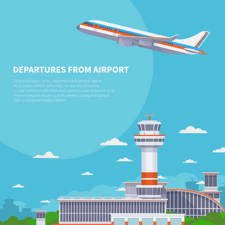 Airplane takeoff on runway in international airport. Tourism and air travel vector concept. Airplane departure from international terminal illustration Vektorgrafik