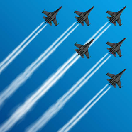 Military fighter jets with condensation trails in sky vector illustration. air, plane, military, show, flight, trail, sky, performance, Airplane army, fighter on airshow Ilustración de vector