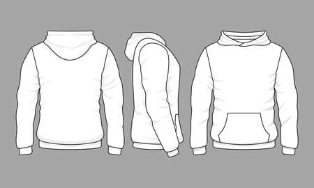 Male hoodie sweatshirt in front, back and side views. Vector sweatshirt or sportswear clothing with hood illustration Vetores