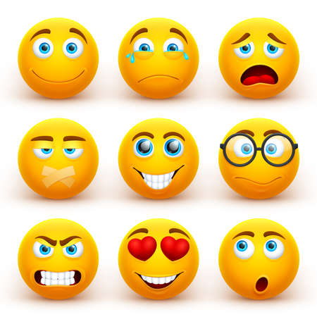 Yellow 3d emoticons vector set. Funny smiley face icons with different expressions. Cartoon character smile face, expression happiness illustration Vecteurs