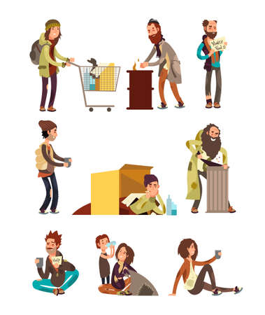 Hungry dirty homeless people. Adult woman and man begging money vector characters set. Homeless and problem with home and work illustration