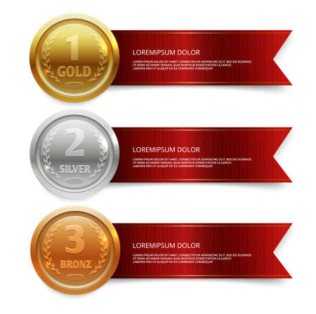 Champion gold, silver and bronze medails with red ribbon banners. Winner award competition, prize medal and banner for text. Vector illustration Ilustración de vector