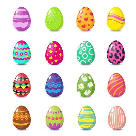 Cartoon happy easter cute eggs vector set. Easter spring eggs for celebration illustration Ilustração Vetorial