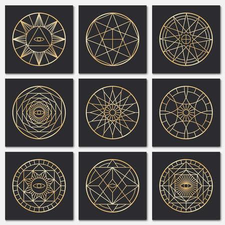 Ancient masonic pentagrams. Steampunk gold sacred vector symbols on dark backgrounds. Mystery circle esoteric symbol, freemasonry geometry spirituality illustration