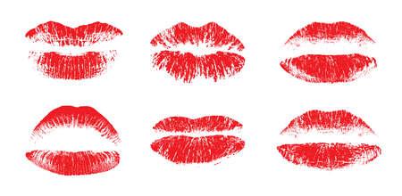 Female beautiful lips, lipstick kiss vector silhouettes isolated. Amour design elements. Lipstick beauty silhouette, kiss and love illustration Vektorgrafik