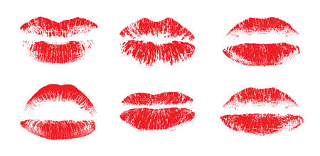 Female beautiful lips, lipstick kiss vector silhouettes isolated. Amour design elements. Lipstick beauty silhouette, kiss and love illustration Vektorové ilustrace