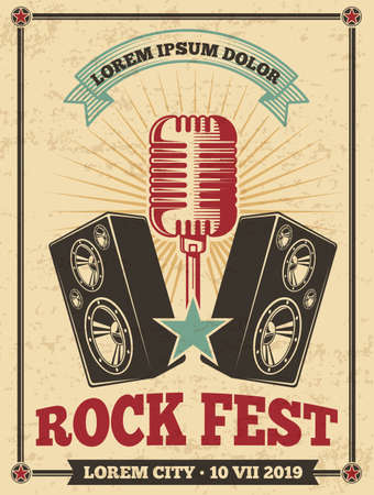 Rock festival vintage vector poster. Rock and roll concert retro background. Banner festival concert, musical heavy illustration
