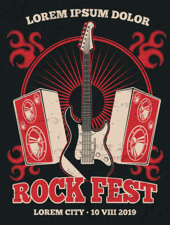 Retro rock music band vector poster with guitar. Rock music festival grunge illustration banner in red black