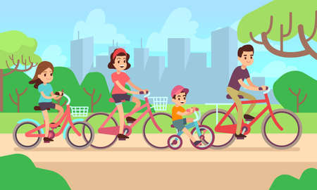 Happy children and parents riding bikes. Active family vector concept. Family on bicycle father mother with daughter and son illustration