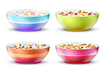 Bowls of breakfast with different milk cereal snacks. Vector set. Breakfast food milk and muesli in bowl illustration